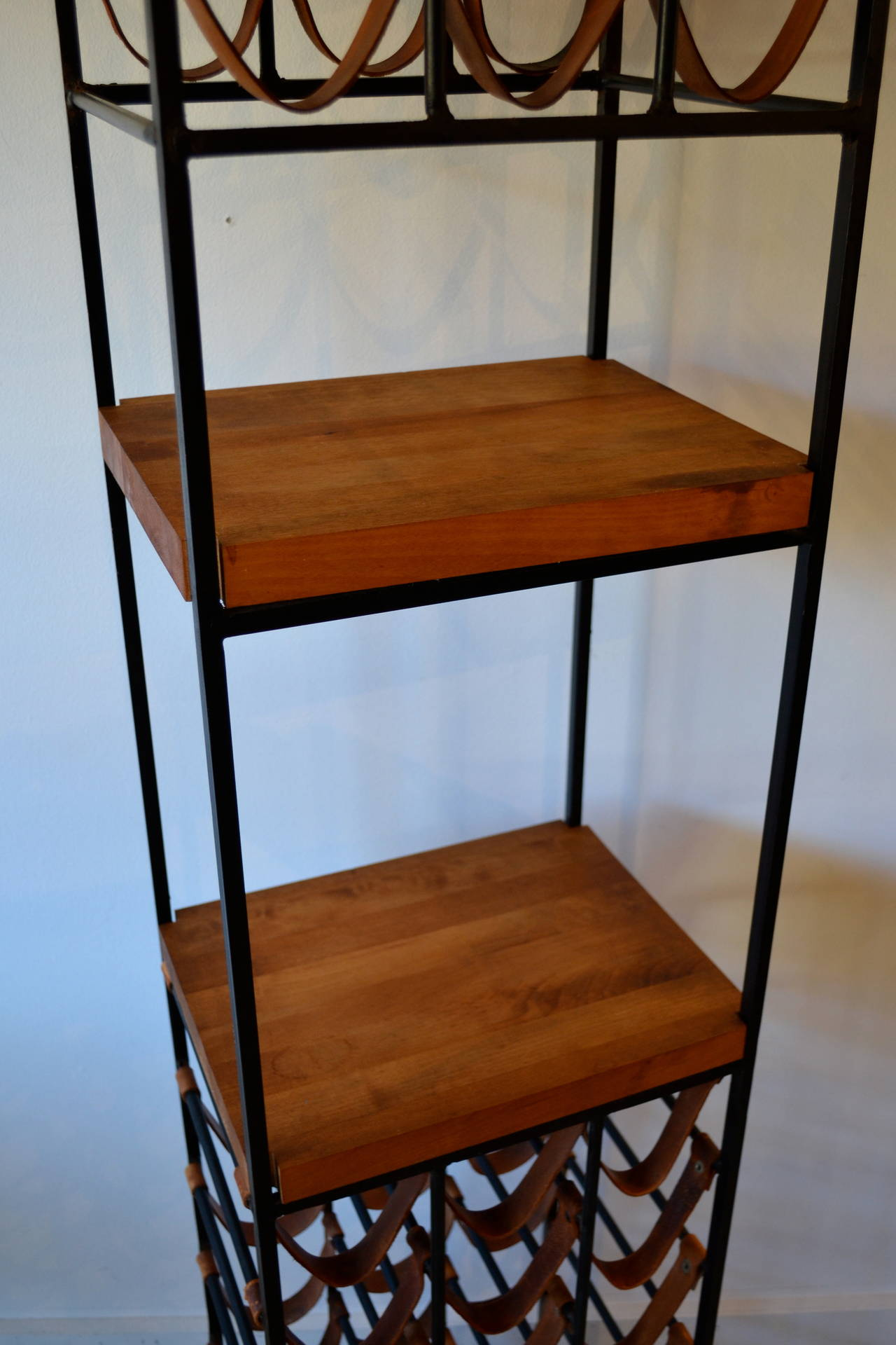 Mid-Century Modern Pair of Wrought Iron and Butcher Block Wine Racks by Arthur Umanoff, 1950s For Sale