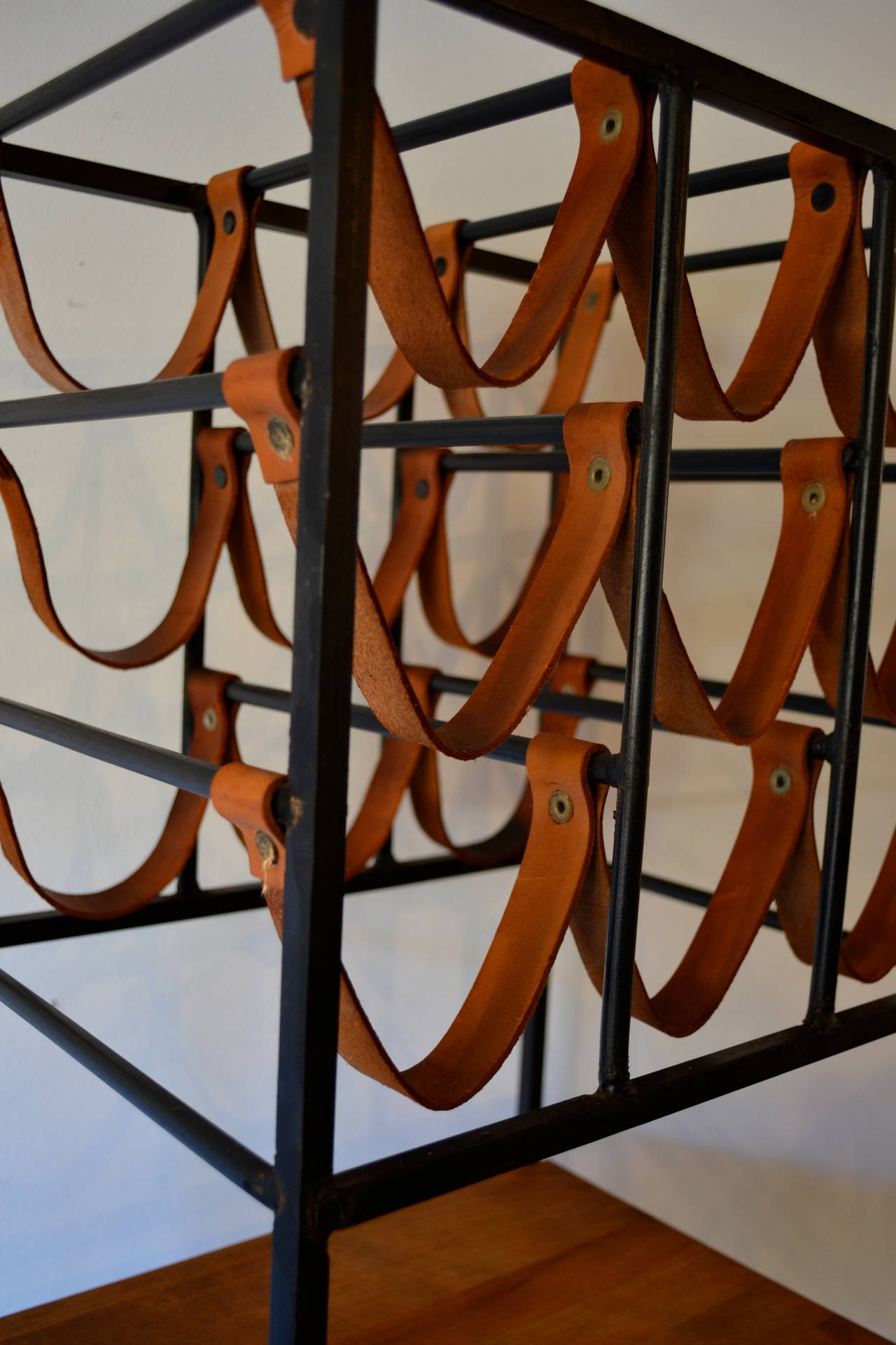 American Pair of Wrought Iron and Butcher Block Wine Racks by Arthur Umanoff, 1950s For Sale