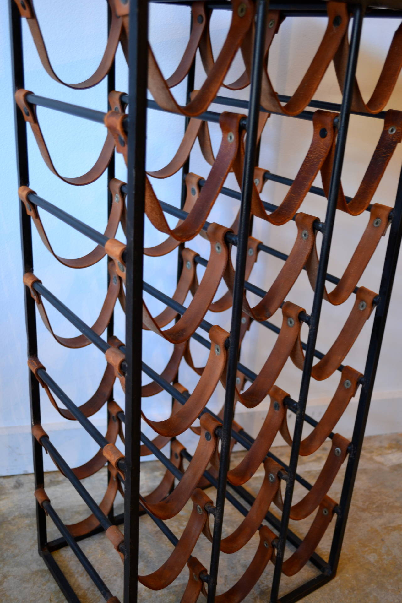 Pair of Wrought Iron and Butcher Block Wine Racks by Arthur Umanoff, 1950s In Good Condition For Sale In Bedford Hills, NY