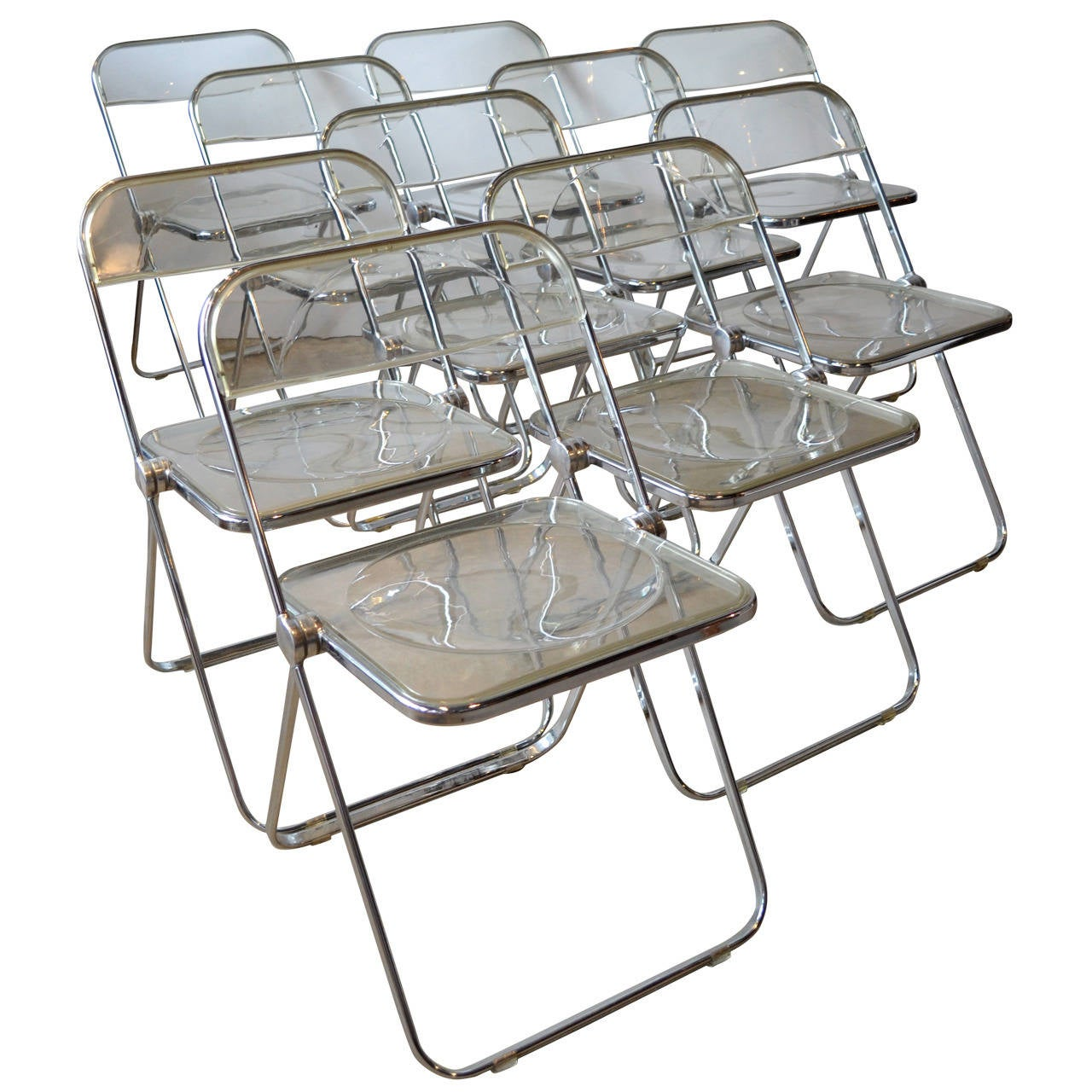 """Ten """"Plia"""" Lucite and Aluminum Folding Chairs by Castelli at 1stdibs"""
