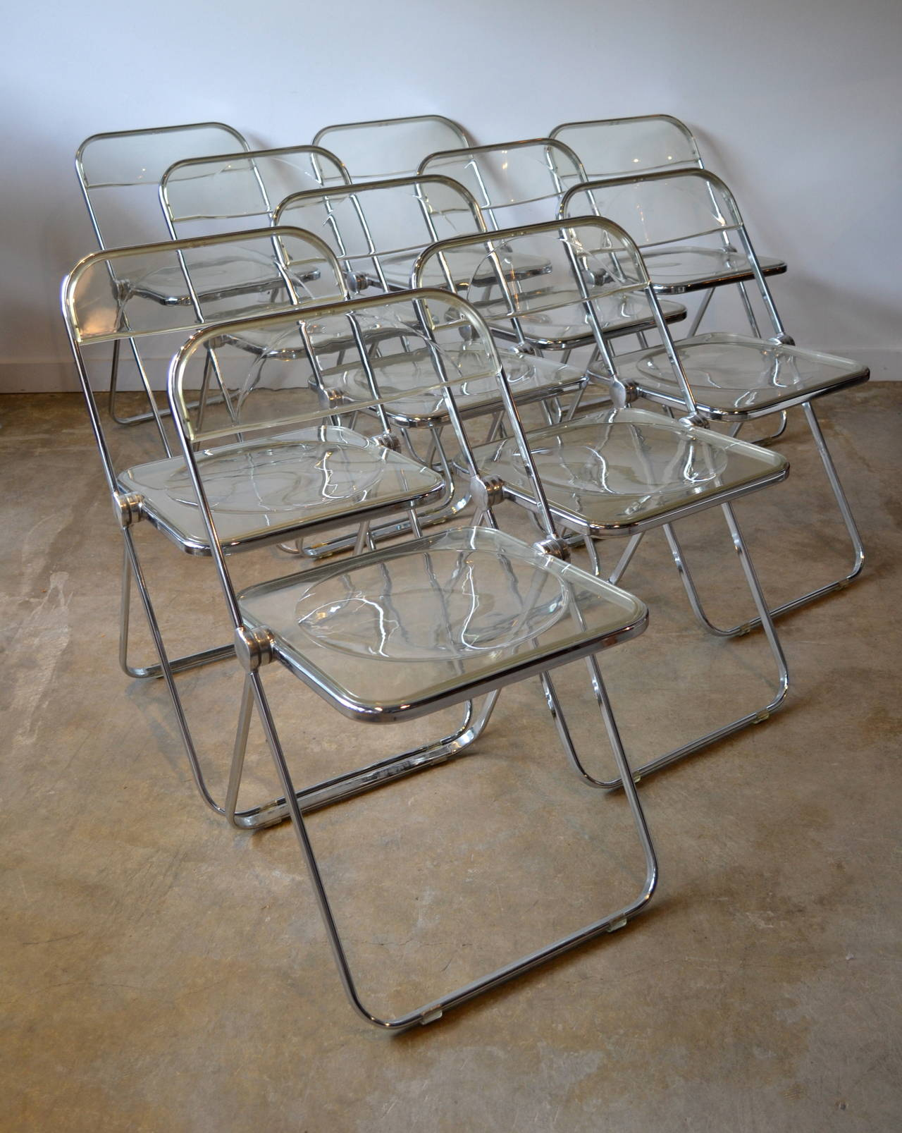 Ten Lucite And Aluminum Folding Chairs Designed By Giancarlo Piretti For  Castelli, MoMA, 1967