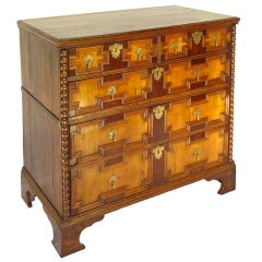 18th-C. Oak and Walnut Geometric Chest