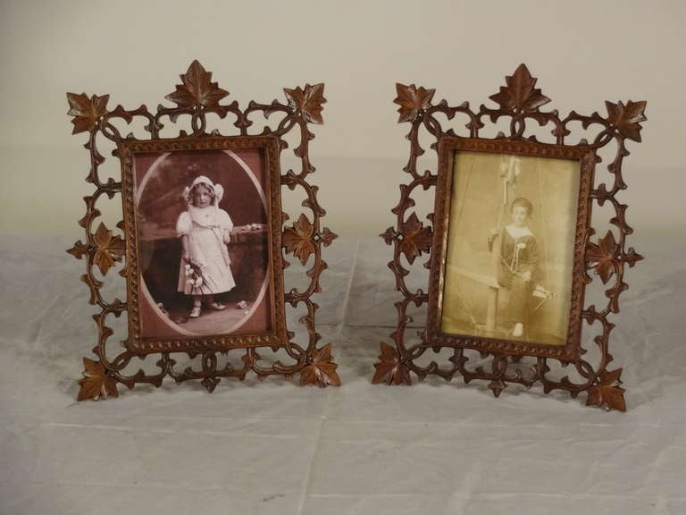 19th Century Pair of Black Forest Carved Picture Frames image 2