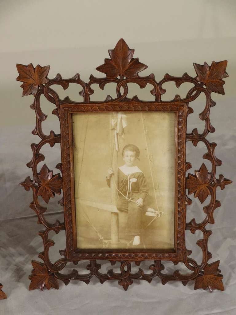 19th Century Pair of Black Forest Carved Picture Frames image 4