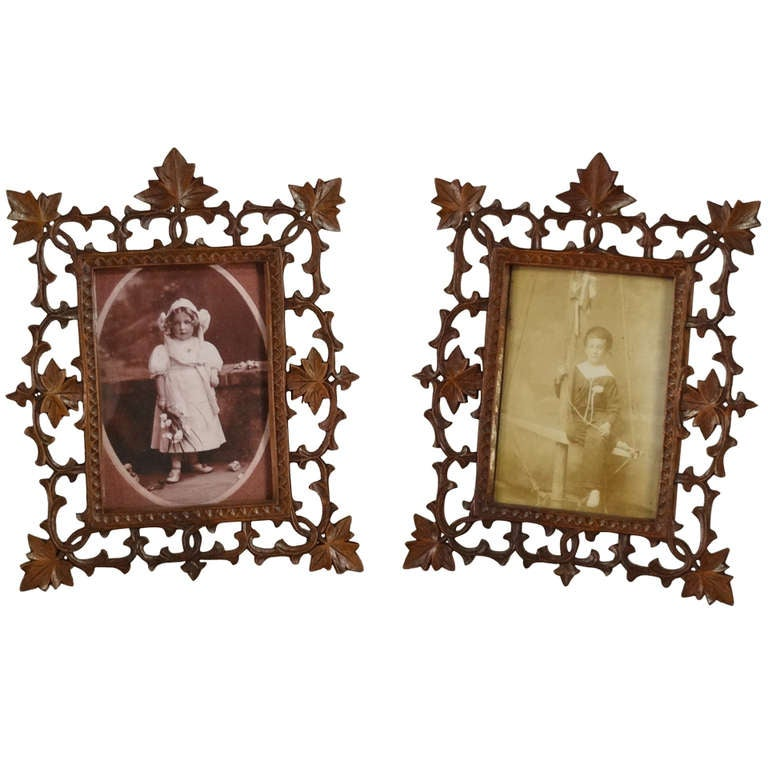 19th Century Pair of Black Forest Carved Picture Frames