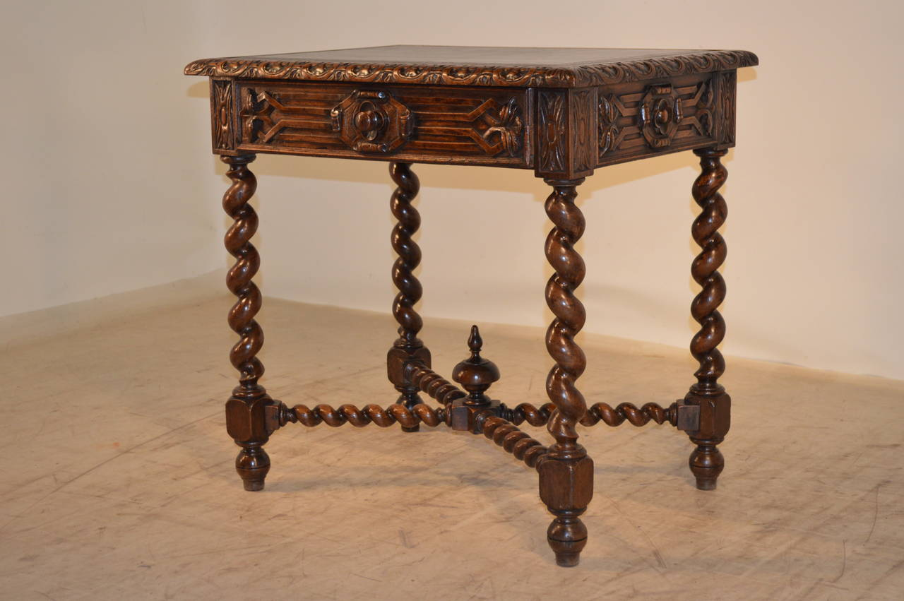 Carved 19th Century, French Walnut Side Table For Sale