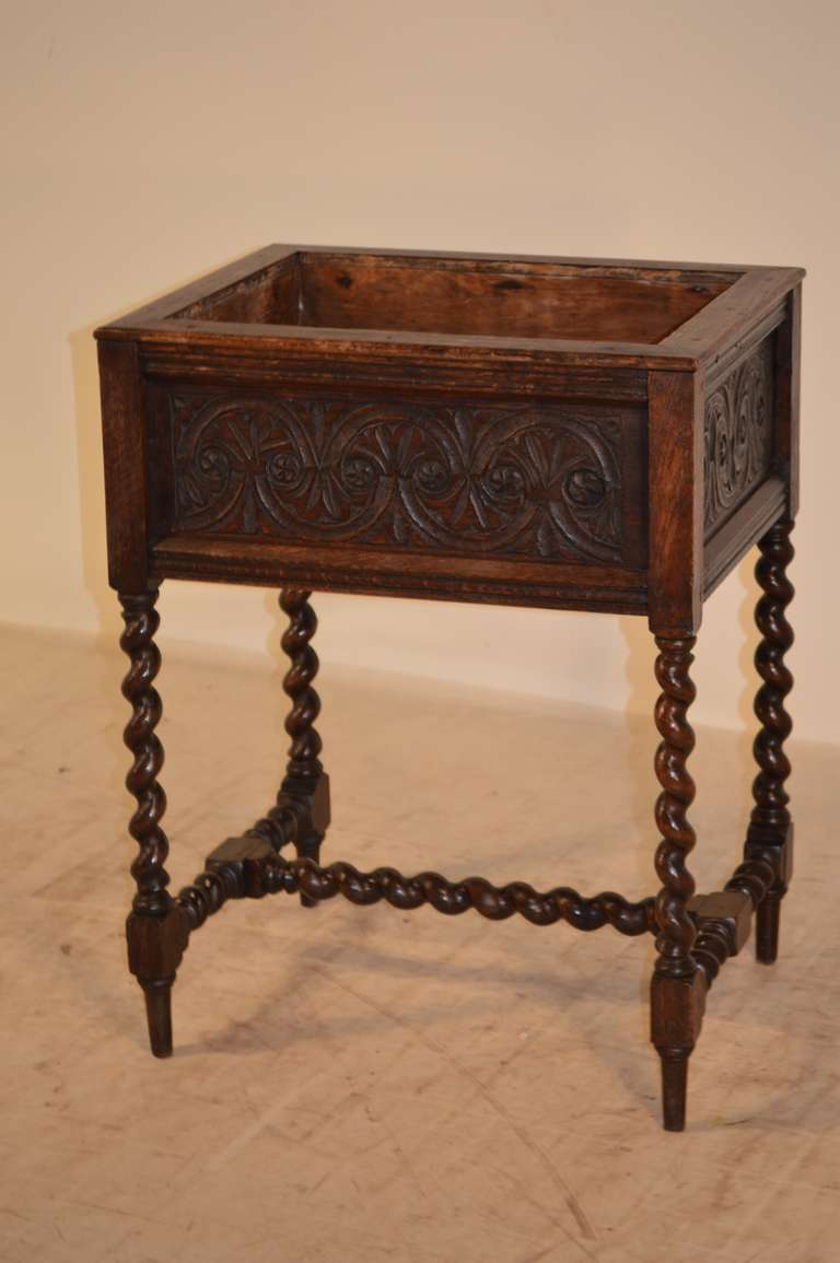 Victorian 19th Century English Oak Carved Planter For Sale
