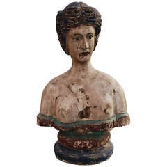 19th Century Wooden Bust