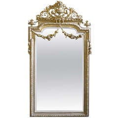 Large Silver Gilded French Mirror Dated 1905