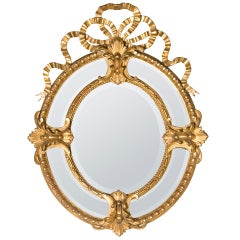 19th Century Bow-Crown French Mirror