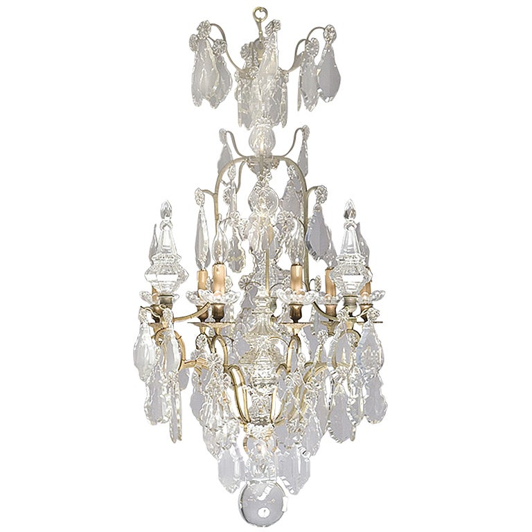 19th Century Chandelier with Crystal and Peaks