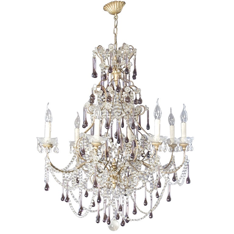 19 th century Italian chandelier with crystal and amethyst