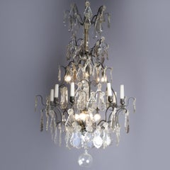 19th Century Crystal Chandelier with Lights and Candles