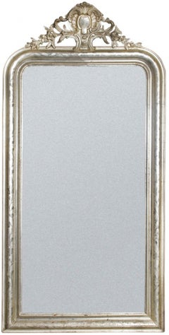 19th Century Antique French silver leaf gilt Louis Philippe mirror with crest