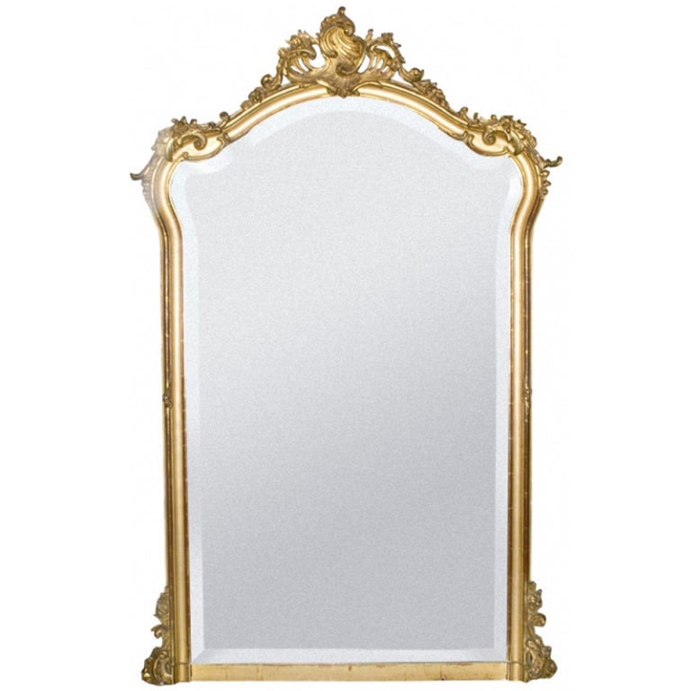 19th c rococo louis quinze gold gilded mirror at 1stdibs for Gilded baroque mirror