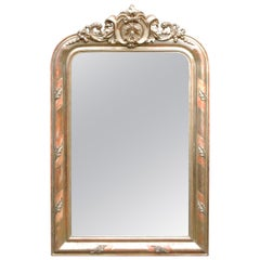 19th-century antique French gold gilt Louis Philippe mirror with crest