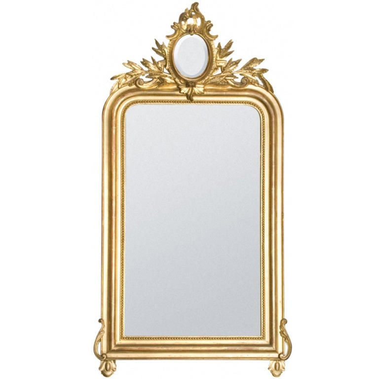 19th century gold gilded baroque french mirror for sale at