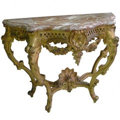 19th Century Gilded and Carved Console Table