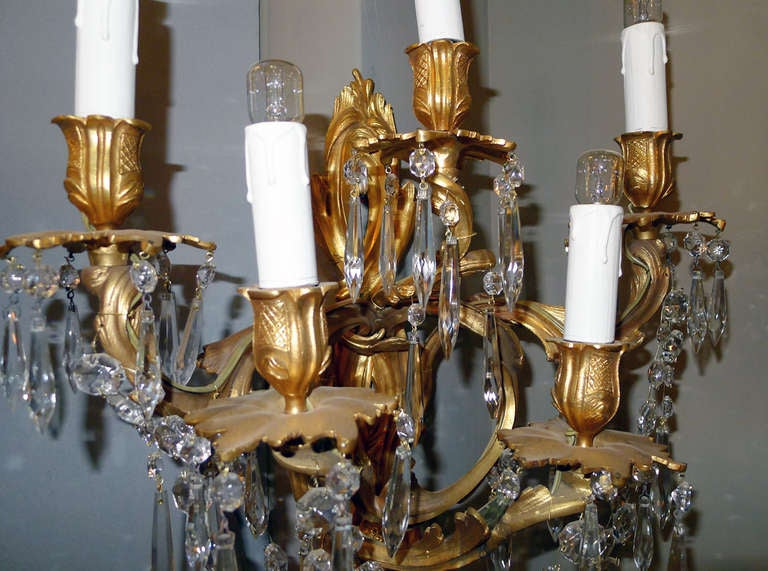 Crystal 19th Century Pair of Wall Sconces For Sale