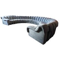 "Iconic De Sede DS 600 ""Non-Stop"" Modular Blue Suede Leather Sofa"