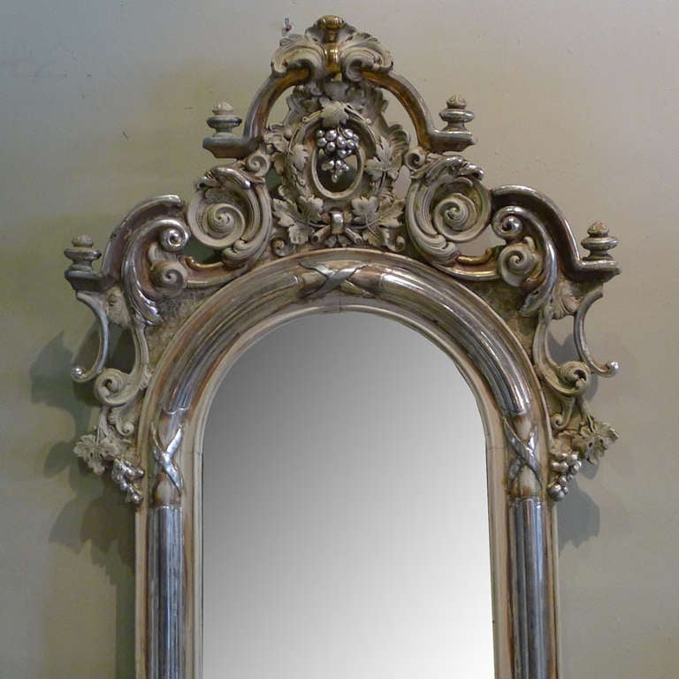 19th century silver gilded baroque mirror at 1stdibs for Gilded baroque mirror