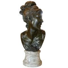 19th Century Female Brass Bust