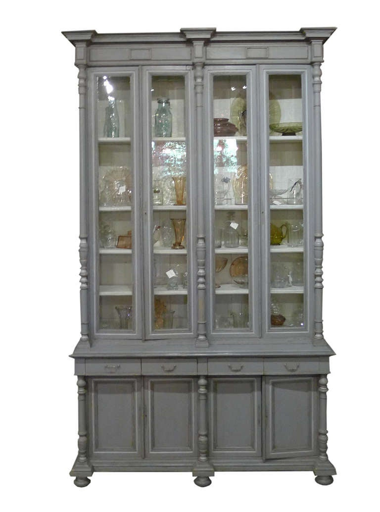 This Is Unique A Complete And Original Library Cabinet Three Piece
