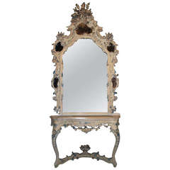 19th Century Venetian Console Table with Mirror