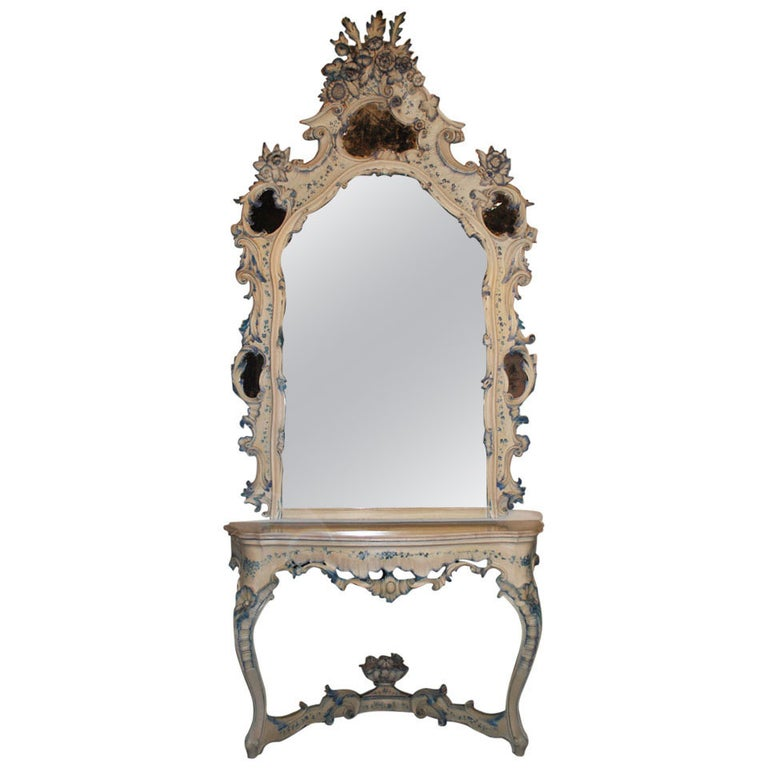19th Century Venetian Console Table with Mirror For Sale
