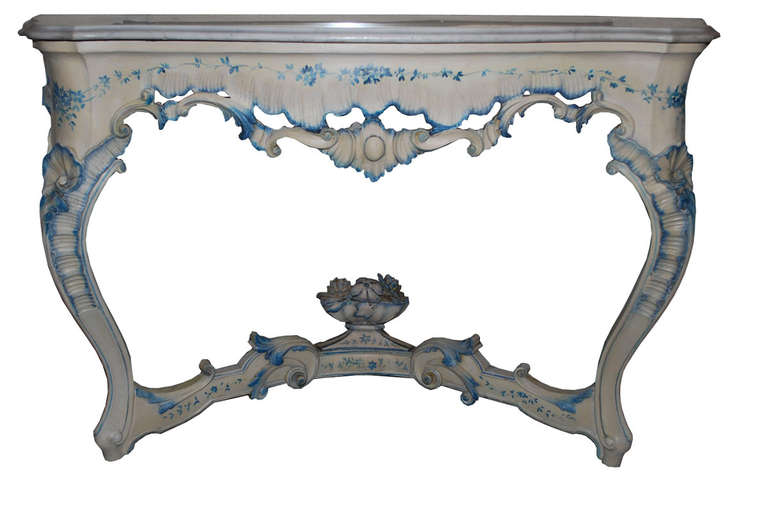 Original Italian rococo console table with carrara mable top and mirror. Made and signed by Antinio Garbato. Perfect condition. Originates Venice, Italy. Dating circa 1850.
