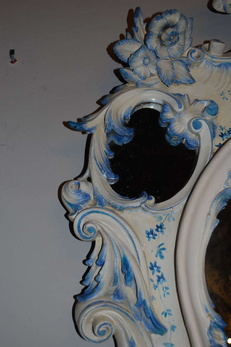 Hand-Painted 19th Century Venetian Console Table with Mirror For Sale