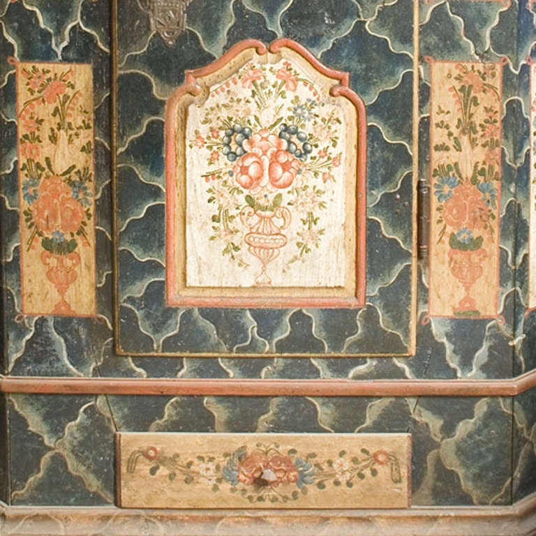 Original hand-painted cabinet made of pinewood. This cabinet has one door and one drawer. Original interior and locks. Originates Riesengebirge, Bohemen, dating circa 1850.