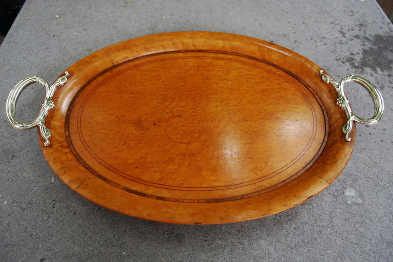 Th century birds eye maple wood serving tray at stdibs