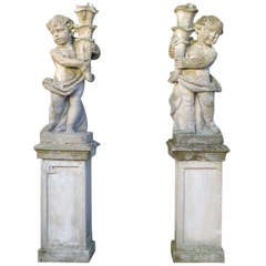 20th Century Pair of Garden Ornaments on Pedestal