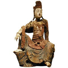 18th c Wooden Buddha Statue