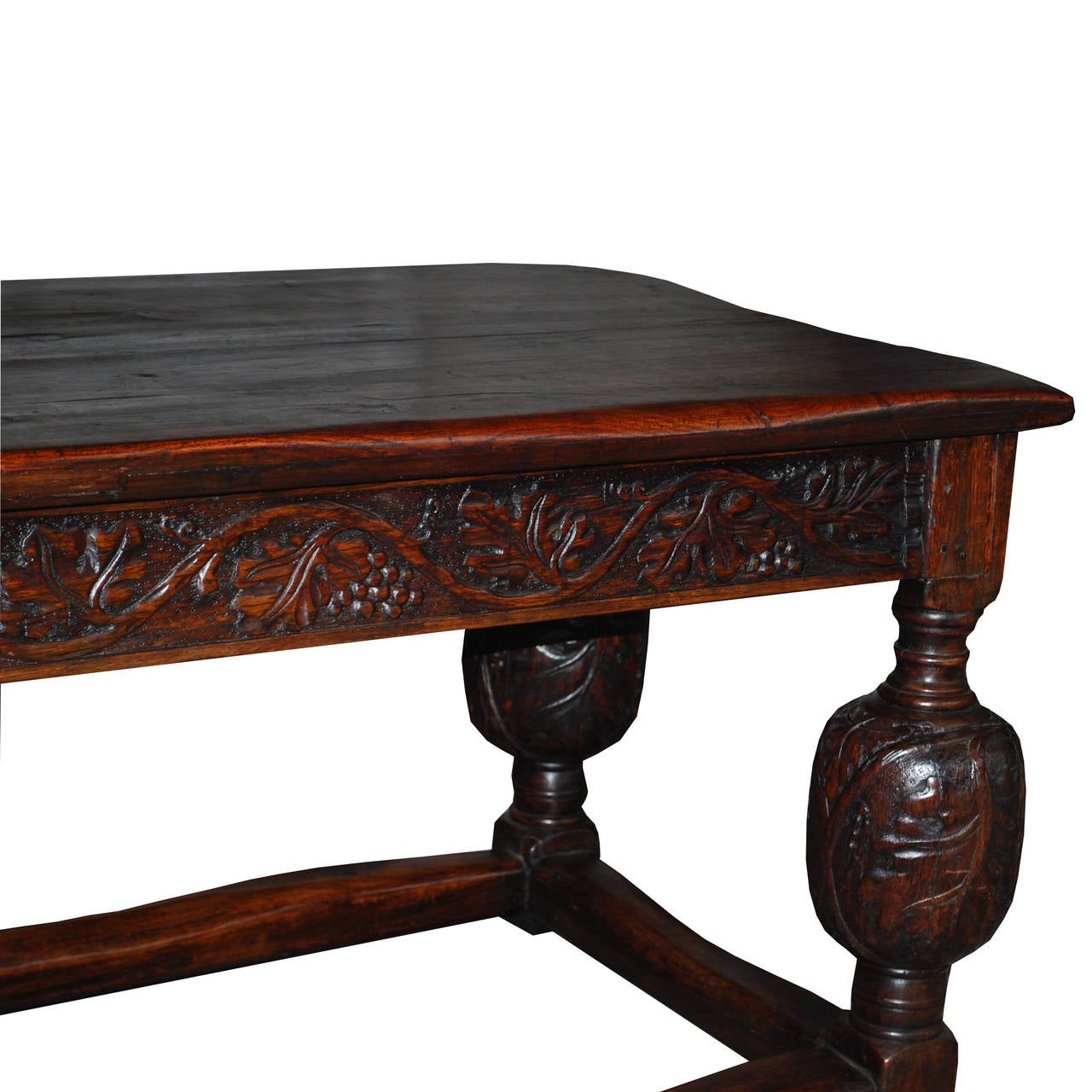 19th Century English solid oak handcarved refectory table For Sale 2