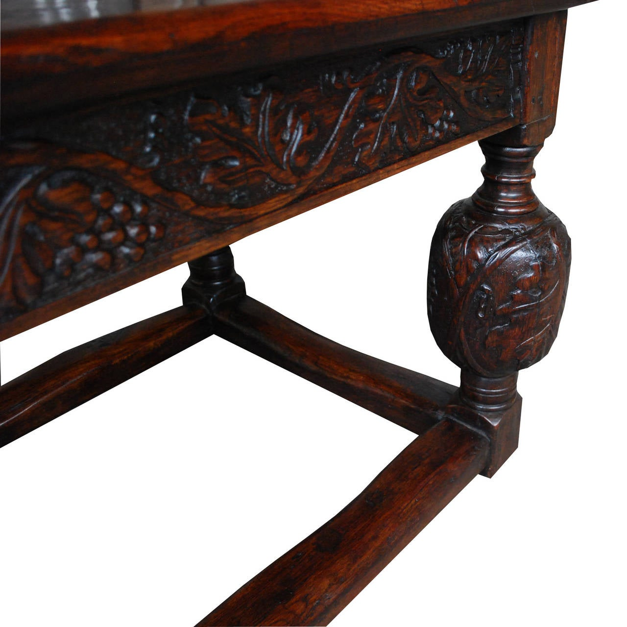 19th Century English solid oak handcarved refectory table For Sale 3