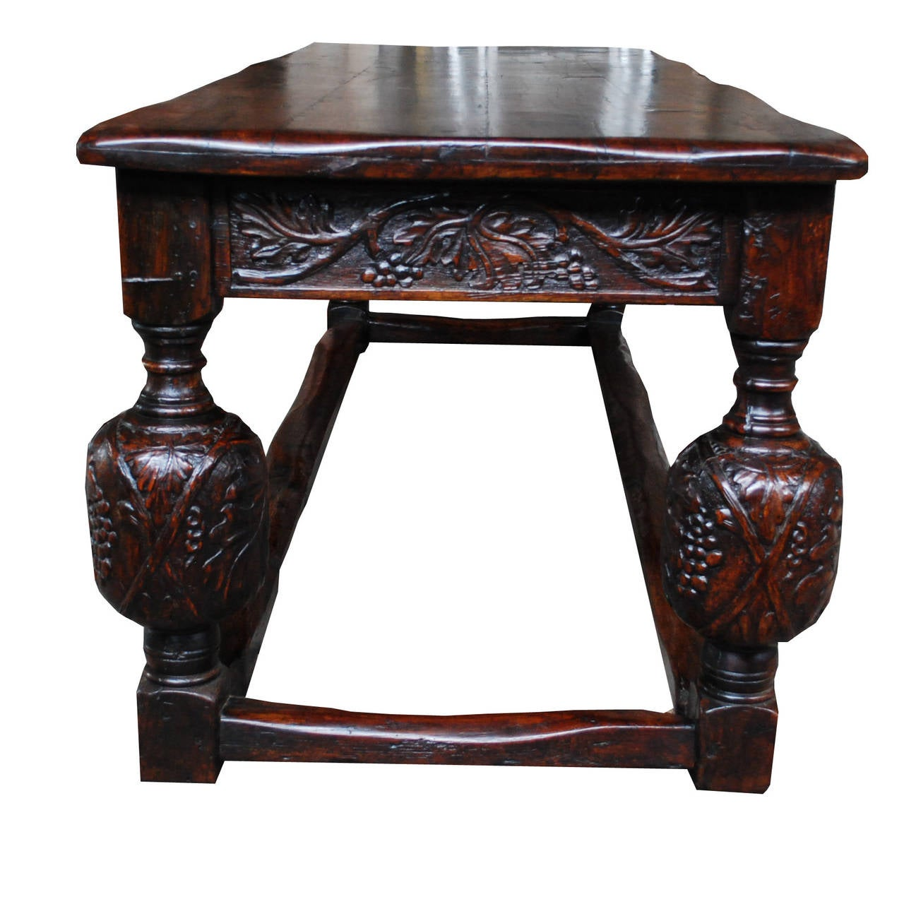 19th Century English solid oak handcarved refectory table For Sale 1
