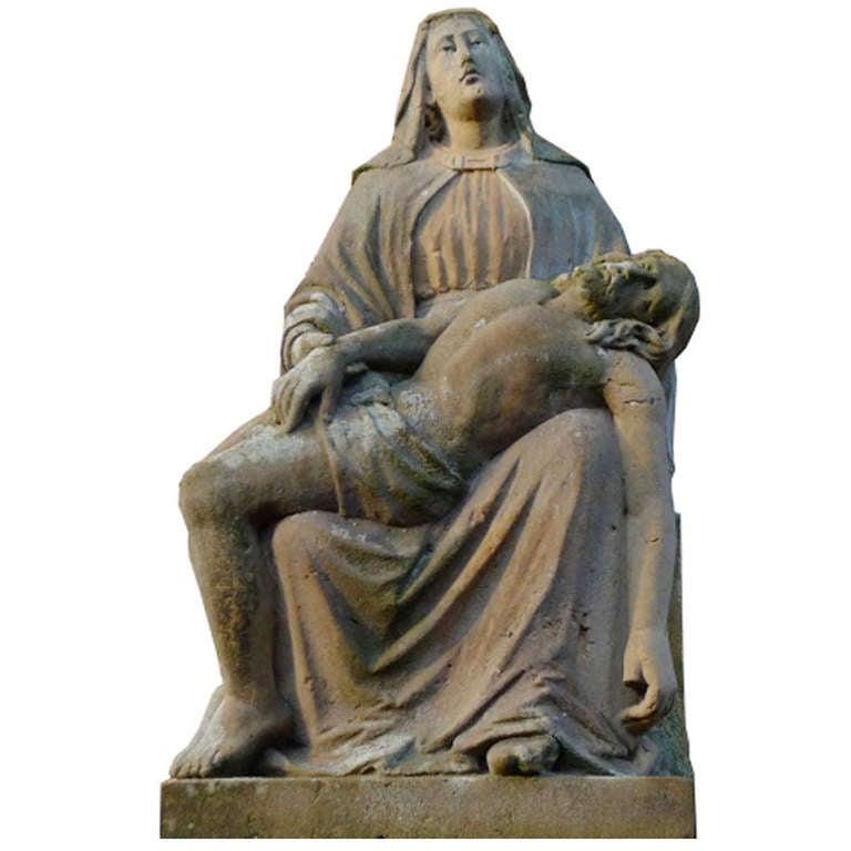 19th Century Sandstone Pieta, Madonna