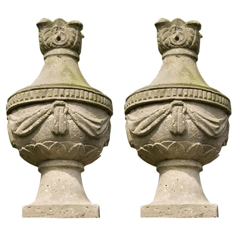 18th Century Pair of Sandstone Vases