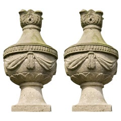 18th Century Pair of Sandstone Vases