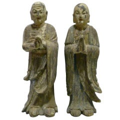 Pair of 19th c. Wooden Buddha Statues