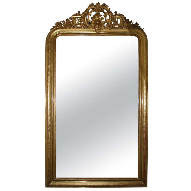 19th century large gold gilded baroque mirror for sale at
