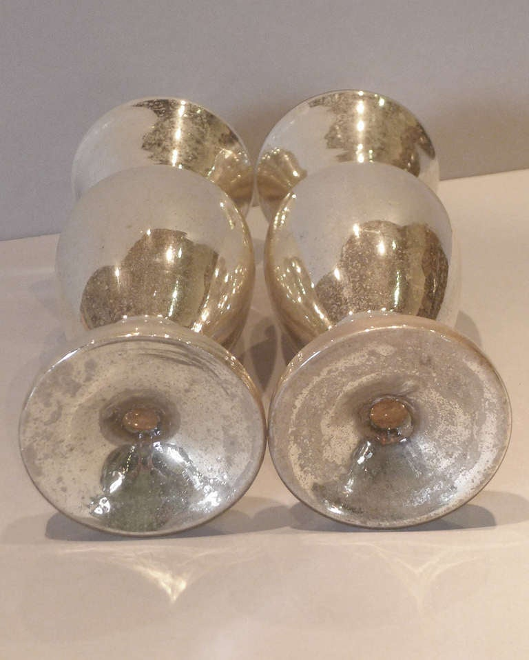 19th C Pair Of Mercury Glass Silvered Glass Vases At 1stdibs