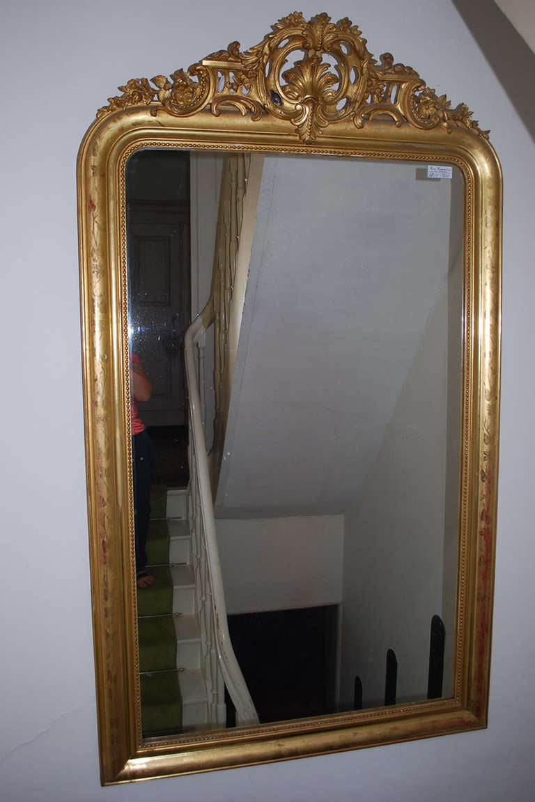 19th c large gold gilded baroque mirror at 1stdibs for Gilded baroque mirror