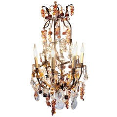 19th Century Crystal Fruit Chandelier