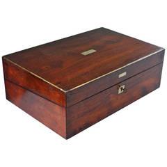19th Century Mahogany and Brass Writing Box