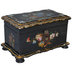 19th Century Hand-Painted Mother-of-Pearl Inlaid Tea Caddy