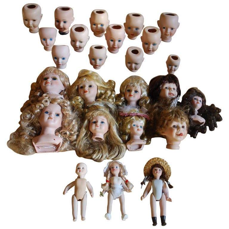 20th Century Antique Porcelain Doll Heads