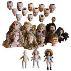 20th Century Antique Porcelain Doll Heads